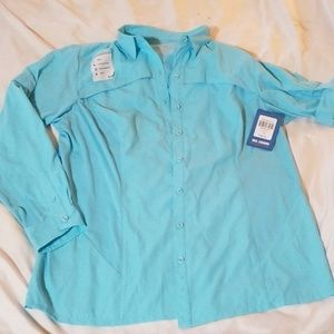 NWT Reel Legends Robin Egg Blue Fishing Shirt 1X